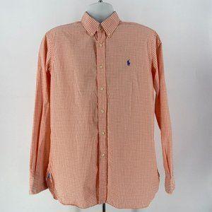 Ralph Lauren Stretch Orange White Checker Shirt L